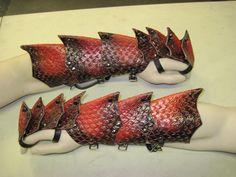 Dragon Scale Leather Armor Gauntlets by SharpMountainLeather