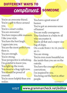 More than 20 sentences you can use to compliment others: