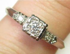 Vintage Retro 18K White Gold Diamond Engagement Ring Band from lifeintheknife on Ruby Lane