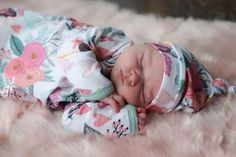 muted floral knotted newborn gown coming home outfit Baby girl or boy clothes can be functional and cute! These newborn knotted gowns are a mom must have! YOu can stress about baby names but not what they are going to wear! Baby clothes that are adorable