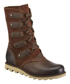 This Dark Brown Scotia Lace Leather Boot - Women by SOREL is perfect! #zulilyfinds