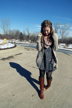 floral dress // tights // brown boots // scarf // cardigan // FALL!!
