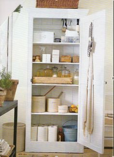 Inspirational images and photos of Laundry & Utility Rooms : Remodelista Armoire Pantry, Pantry Closet, Utility Closet, Cleaning Cupboard, Cleaning Closet, Pantry Organization, Organizing Tips, Organization Station, Pantry Ideas