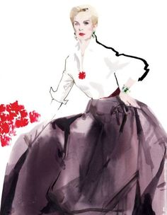 "vanityfair: ""All women like to have their clothes admired, and those that deny it are lying."" -Carolina Herrera Painted from life in the red living room of her Manhattan town house on June 22, 2012 by David Downton"