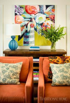 Above the console table, the lively colors of the family room are echoed in a piece of art. - Photo: Helen Norman / Design: Lauren Liess Interior Inspiration HAPPY CHHATH PUJA PHOTO GALLERY  | 2.BP.BLOGSPOT.COM  #EDUCRATSWEB 2020-03-19 2.bp.blogspot.com https://2.bp.blogspot.com/-gohwA7GkT18/W8ylMLrnC1I/AAAAAAAAAj8/YtwN8ZSJ7Xk62cCw2NvnWDRWnrMCT_HUwCEwYBhgL/s640/happy%2Bchhath%2Bpuja%2Bimage%2B%25282%2529.jpg