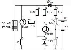 A simple solar charger circuit can be constructed using this circuit diagram . The nominal voltage of the solar charger circuit module i. Battery Charger Circuit, Solar Charger, Electrical Projects, Electrical Engineering, Electrical Energy, Diy Electronics, Electronics Projects, Electronic Circuit Design, Electronic Schematics