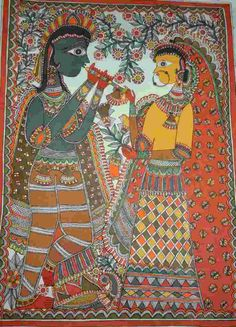 Lord Krishna and Radha Rash Leela @ Rs 5,499/- Painting by Pawan Jha, grandson of Padmashree Late Smt. Sita Devi. A Mithila Painting of Lord Krishna and Goddess Radha. On Hand-made Paper Dimension: 30 Inch x 22 Inch