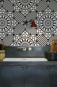 Wandtegels keuken voorbeelden: één grote print print