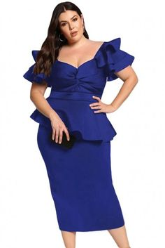 Wholesale Plus Size Tiered Sleeve Twisted Peplum Dress on pophers.There are all kinds of cheap fashion dresses exclusively for full-figured ladies. Plus Size Cocktail Dresses, Dress Plus Size, Plus Size Outfits, Curvy Fashion, Plus Size Fashion, Short Sleeve Dresses, Dresses With Sleeves, Tunic Dresses, Dressy Dresses