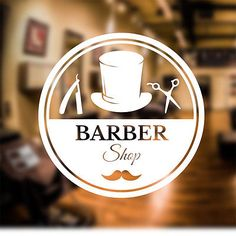 Barber Shop Wall Sticker scissors comb decal transfer art hair graphic bb8 in Business, Office & Industrial, Retail & Shop Fitting, Signs | eBay