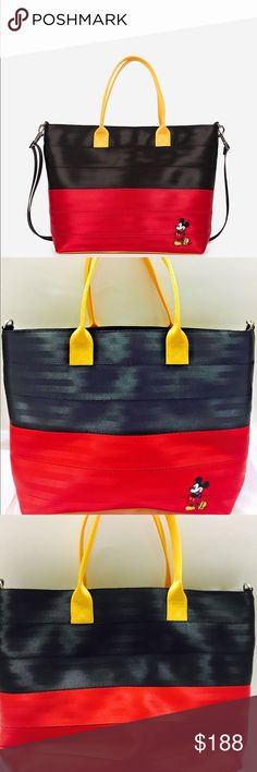 "NWT Harvey's medium streamline mickey tote NWT tags are in inside pocket, not attached. Bag was never used however. 15"" (L) X 11.25"" (H) X 3.75"" (W) with 6"" handle drop Detachable strap extends from 25"" - 51"" Made in USA Animal Friendly (Vegan) Harvey's Seat Belt Bags Bags Totes"