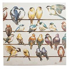 "Gleeful Gathering Wall Art   Pier 1    A gleeful gathering of songbirds is hand-painted on canvas. As far as where to place it, this work of art soars with potential.  Multicolored  35""W x 35""D x 2""H  Pine wood, cotton canvas"