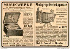 Original-Werbung/Inserat/ Anzeige 1902  : MUSIKWERKE / PHOTOGRPHISCHE APPARATE / BIAL & FREUND BRESLAU ca. 190 x 130 mm