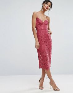 d13a80459f8 ASOS Lace Cami Midi Dress With Strappy Back at asos.com. Occasion DressesDay  DressesDress OutfitsProm DressesFormal DressesMi LongCami ...