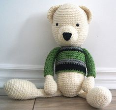 Handmade crochet bear - Kevin - Rustic teddy bear collection  Locally grown 100% wool  http://www.facebook.com/accrochepouce