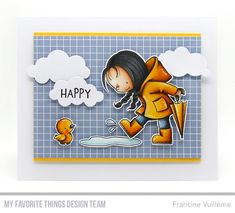Card by Francine (www.1001cartes.ch) karte, carte, carterie, cardmaking, cardmaker, crafts, papercrafts, handmade, diy, stamping, mftstamps, my favorite things, mft stamps, #mftstamps, die-namics, puffy clouds, rain or shine, birdie brown, copic coloring