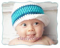 TEAL STRIPE : baby boy crochet hat via Etsy