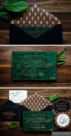 Emerald Velvet Wedding Invitation with Rose Gold Foil and Art Deco design by Penn