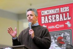 Tom Brennaman speaks with fans during the Reds Caravan held at the Lima Mall on Saturday. RICHARD PARRISH / The Lima News