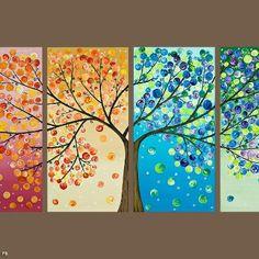 Een prachtig vierluik van de 4 seizoenen. Warme, koude kleuren