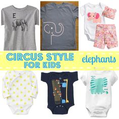 Elephant shirts and onesies for babies and toddlers