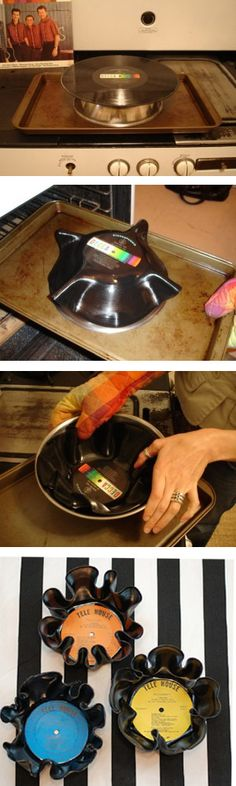 Ponha o disco em cima de uma tigela virada e leve ao forno a 200°C por 8 min.  Tire de lá. Deixe o disco esfriar o suficiente p/ que você não se queime, mas ainda consiga moldá-lo.  Coloque dentro de um recipiente para ajudar na moldagem, ou use só as mãos para dar a forma.  O vinil endureceu e você ainda não terminou de modelar? É só colocar mais um pouco no forno para amolecer novamente.  Depois coloque em baixo da água fria e pronto!