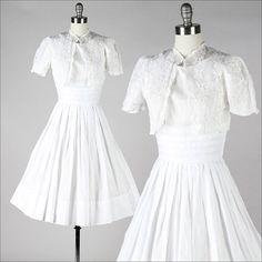 vintage 1950s crisp white cotton dress with matching eyelet organza bolero and full skirt
