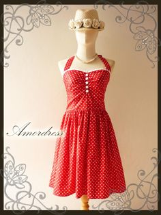 Red Polka Dot Party Dress Vintage Inspired Party Tea Dress