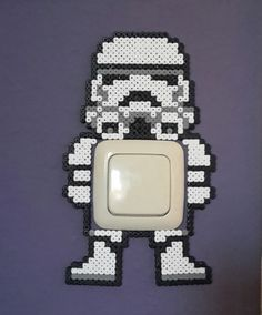 Star Wars Stormtrooper/switch light cover hama perler beads/by bianca jung Hama Beads Patterns, Beaded Bracelet Patterns, Beading Patterns, Perler Bead Designs, Nerd Crafts, Diy And Crafts, Perler Beads, Perle Hama Star Wars, Hama Pokemon