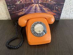 Vintage Orange phone, Old rotary phone, Soviet phone, Circle dial rotary phone, Vintage landline phone, Old Dial Desk Phone, Homephone Orange Phone, Rustic Vintage Decor, Pay Attention To Me, Retro Phone, Vintage Phones, Beeswax Candles, Rotary, Telephone, Landline Phone