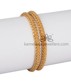 Elegant gold bangles collections by Kameswari Jewellers. Buy gold bangles online from South India's finest goldsmiths with 9 decades of expertise. Plain Gold Bangles, Gold Bangles Design, Gold Earrings Designs, Gold Jewellery Design, Silver Bracelets, Silver Anklets, Jewelry Bracelets, Diamond Jewellery, Necklace Designs