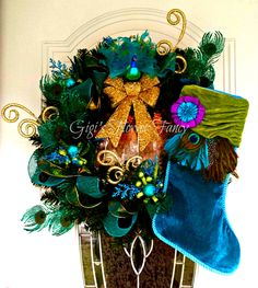 Peacock Wreath - Sparkly Peacock Wreath Turquoise, Green, Gold, Peacock Christmas, Peacock Holiday Door Wreath by GigisFlowerFancy on Etsy