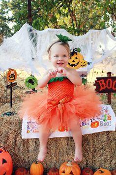 Trendy LiL Pumpkin Costume  SEWN  tutu set by trendylittlecreation, $30.00