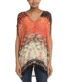 Look at this Coral Abstract Silk Cape-Sleeve Hi-Low Top on #zulily today!