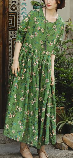 73c9b3fca698 Loose o neck large hem linen clothes For Women Pakistani Runway green print  cotton Dress summer