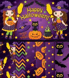 Halloween Clipart - Halloween Digital Paper, Witch Clipart, Vector Halloween Clipart, Halloween Girl Clipart, Halloween Clip Art #thecreativemill