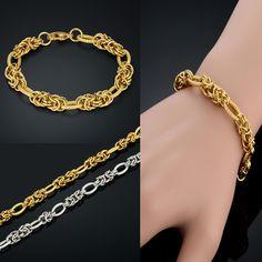 UrbanBijoux Parure Chaine Bracelet Homme Acier plaqu/é Or Byzantine Hip hop Bling