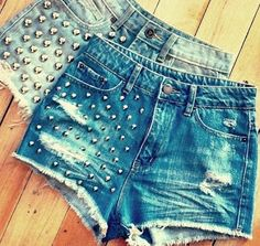 How to make high waisted studded shorts