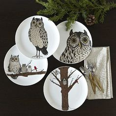 Owl Dessert Plates. i usually don't go in for west elm's patterned plates, but these are cute. i could live with the occasional owl