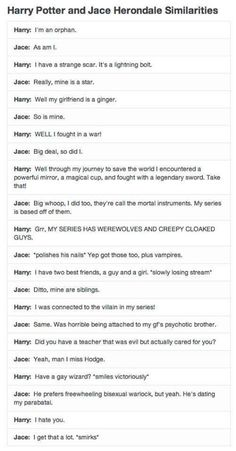 Harry Potter and Jace Wayland swap stories.