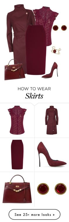 A fashion look from August 2016 featuring ruffle blouse, Ted Baker and burgundy skirts. Browse and shop related looks. Classy Outfits, Trendy Outfits, Fashion Outfits, Womens Fashion, Burgundy Skirt Outfit, Professional Wear, Work Fashion, Classy Fashion, Outfit Combinations
