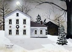 Silent Night by Billy Jacobs White Farmhouse Stone Barn Winter Snow Full Moon Primitive Folk Art Print Framed Picture: *PLEASE NOTE: Actual colors may vary from those shown on your monitor. *Professionally made and assembled in the USA! Christmas Scenes, Christmas Art, Country Christmas, Vintage Christmas, Christmas Ideas, Mary Christmas, Christmas Paintings, Christmas Images, Christmas Inspiration