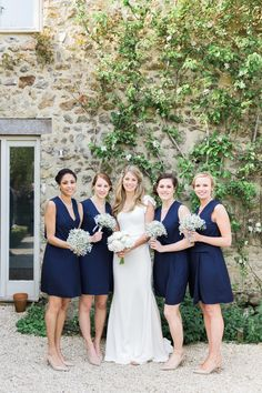 Stylish Relaxed Country Wedding Navy Bridesmaid Dresses http://www.lisadawn.co.uk/