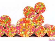 NEW fabulous & cheerful Orange  pink  yellow  green and red polymer clay round cane , raw and unbaked Fimo millefiori Retro Dots cane by Ronit Golan
