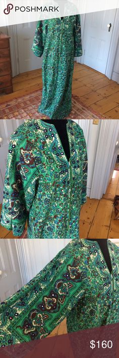 Vintage Gorgeous Maxi Luxury Cotton Caftan Dress Vintage Gorgeous Maxi Luxury Cotton Caftan Dress, Indian print with mirrors. I Magnum for Neiman Marcus Size Small Dresses Maxi
