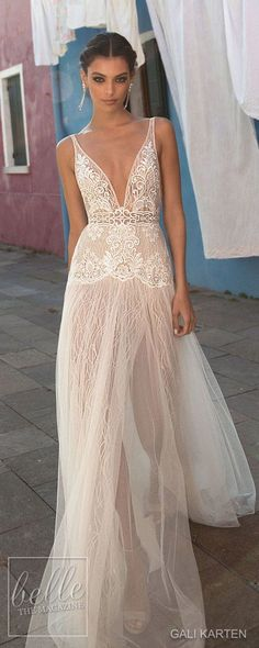 Vintage Wedding Dresses Gali Karten Wedding Dress 2018 - Burano Bridal Collection - Gali Karten Wedding Dresses 2018 - Burano Bridal Collection features exquisite gowns in a plethora of gorgeous silhouettes. V Neck Wedding Dress, Wedding Dresses 2018, Perfect Wedding Dress, Bridal Dresses, Cocktail Wedding Dress, Wedding Hair, Dresses Elegant, Vintage Dresses, Bridal Collection