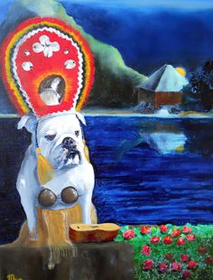 English Bulldog Art Print / Coconuts / by Original by Mike Holzer