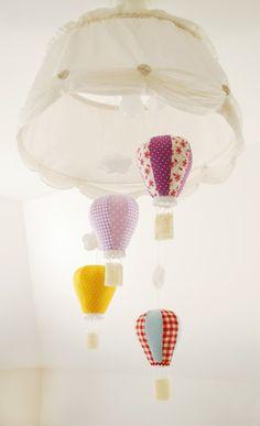 Hot Air Balloon Baby Mobile Nursery Decor Baby shower by Jobuko