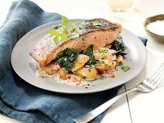 Smashed Bacony Potatoes with Kale and Roasted Salmon