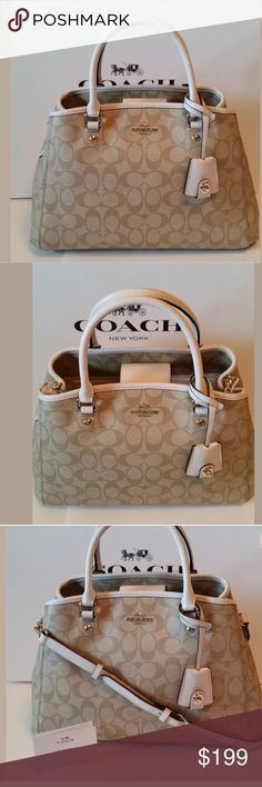 "Coach signature Margot khaki/chalk Coach Margot  Carryall Khaki Signature Satchel Shoulder Bag F34608 MSRP $395  Signature canvas with leather trim Inside zip, cell phone and multifunction pockets Zip-top closure, fabric lining Handle with 3 3/4"" drop Strap with 20"" drop for shoulder or crossbody wear approx. 13.5 x 9 x 6"".       100% Authentic Coach Bags Crossbody Bags"